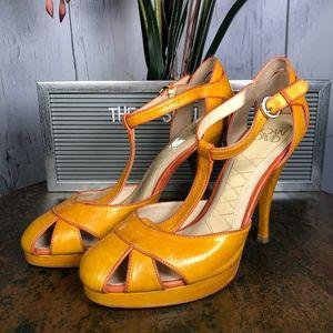 Joan & David Vintage Platform Yellow Leather Heels